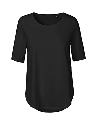 - Green Cat Neutral Ladies Half Sleeve T-Shirt, 100% Organic Cotton and Fairtrade Certified, Color Black, Size XL