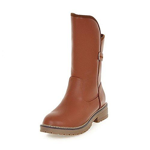 AllhqFashion Damen Mittler Absatz Blend-Materialien Rein Ziehen auf Rund Zehe Stiefel, Orange, 38
