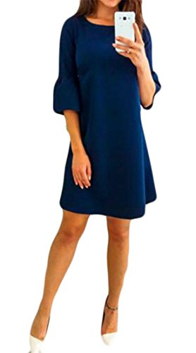 Blue Loose Dress Sleeve Chiffon Shirt Navy Neck CMC Plain T Round Fit Womens Half wqpqWOnP4
