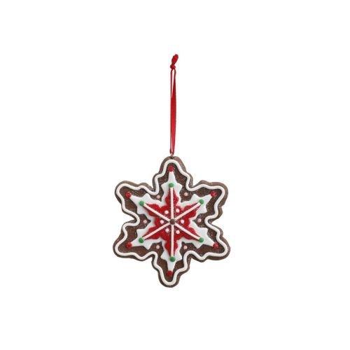 DEMDACO Gingerbread Snowflake 3.5 x 4 Inch Ceramic Decorative Christmas ()