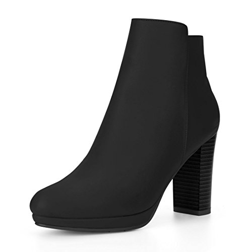 Allegra K Women's Round Toe Chunky Heel Platform Ankle Boots (Size US 6) (Ladies Black High Heel)