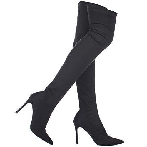 ILLUDE Women's Thigh High Stretch Boot - Trendy High Heel Shoe - Sexy Over The Knee Pull on Boots - Thigh High Stiletto Boots