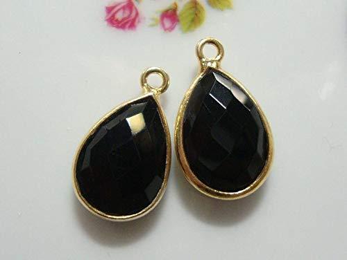 - 2 pcs, 16x10mm, Handmade Black Onyx Gold Vermeil Sterling Silver Bezel Rim Teardrop Pendant Charm Finding