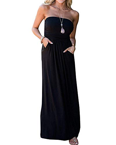 - Kathemoi Womens Summer Strapless Maxi Dress Tube Top Off The Shoulder Party Dress with Pocket Black
