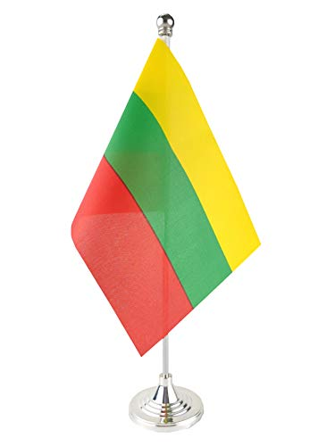 Price comparison product image GentleGirl.USA Lithuania Table Flag,  Stick Small Mini Lithuanian Flag Office Table Flag on Stand with Stand Base,  International Festival Decoration, Lithuanias Theme Party Decoration, Home Desk Decorati