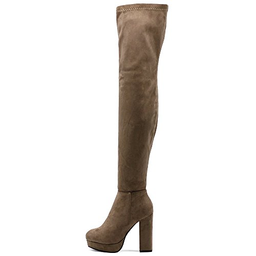 High Heel Boots Ollio Thigh Women Faux Long Platform Suede Stretch Shoe high Span Taupe BzxqvB
