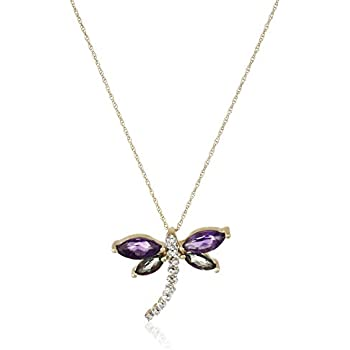 """10K Yellow Gold Amethyst and Mystic Topaz with Diamond Dragonfly Pendant Necklace, 18"""""""