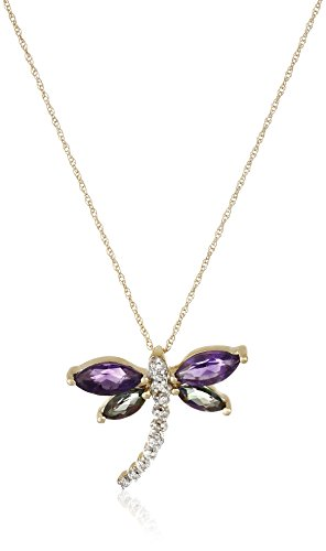 (10K Yellow Gold Amethyst and Mystic Topaz with Diamond Dragonfly Pendant Necklace,)