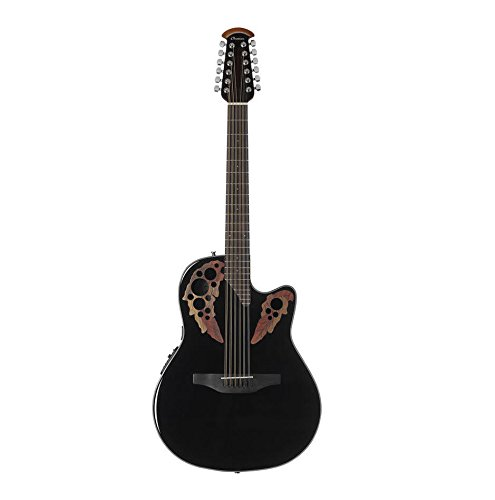 Ovation Celebrity Collection 6 String Acoustic-Electric Guitar, Right, Black, Mid Depth Body (CE4412-5)