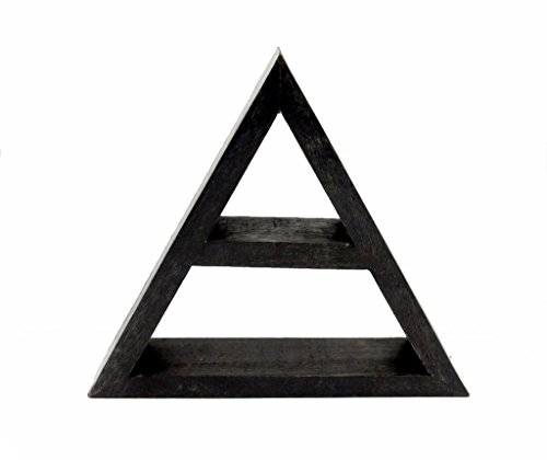 Crystal Display Shelf - Wooden Jewelry Shelf w/ Exclusive Rock Paradise (Triangle, Darken Wood) - Floating Triangle