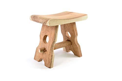 Divero HM50106 Hocker Sitzhocker Holzhocker Badhocker Duschhocker Schemel – Suar Holz massiv Reine Handarbeit eckig…