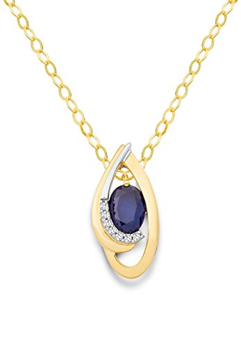 Miore - MH8018N - Collier Femme - Bicolore 18 Cts 750/1000 3.7 Gr - Saphir