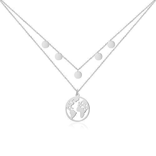 Good.Designs Weltkugel Kette mit 5 Plättchen I Mehrreihige Damen Halskette (verstellbar) mit Weltkette