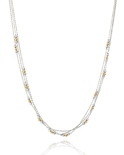 Triple Strand 925 Sterling Silver Necklace with 14k Gold-Filled & Rhodium Plated Beads, 18