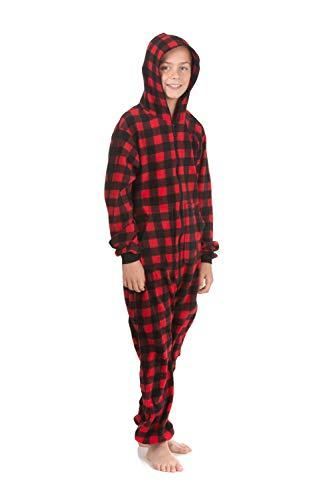 - Hoodie Onesie Jumpsuit Pajama in Buffalo Plaid Fleece for Boys & Girls Red, Black