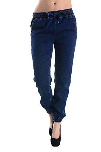 American Bazi Women's Knit Denim Jogger Pants