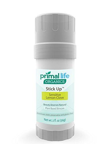 [Stick Up™ 100% Natural Deodorant #1 RATED BEST - No Chemicals, Fragrances, Aluminum or Toxins - Extremely Effective Against Odor - Detoxifies - 2oz Sensitive Lemon Clove - Primal Life Organics] (Deodorant Lemon Fragrance)