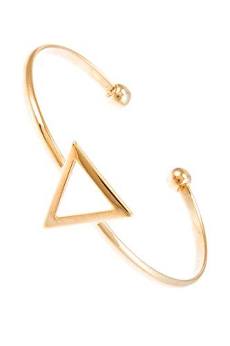 D&K Monarchy Gold Triangle Accent Delicate Skinny Cuff Bangle