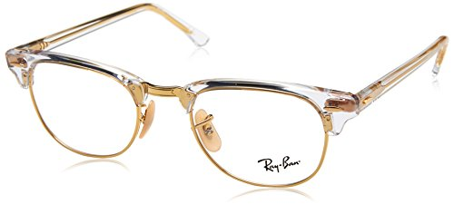 Ray-Ban RX5154 Clubmaster Square Eyeglass Frames, Transparent/Demo Lens, 49 ()
