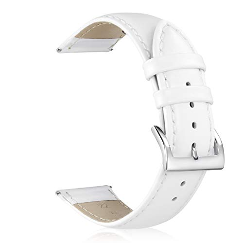 GinCoband Leather Watch Bands,Choice of Width 18mm 20mm 22mm,Genuine Leather Watch Replacementband Strap for Men Women (White, 18mm)