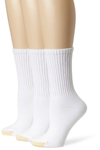 Gold Toe Women's 3-Pack Ultratec Crew Socks, White, Shoe Size: 6-9 (Socks Toe Cotton Gold)