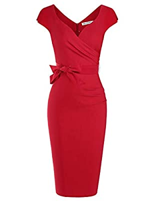 MUXXN Women's Vintage 1950s Style Wrap V Neck Tie Waist Formal Cocktail Dress