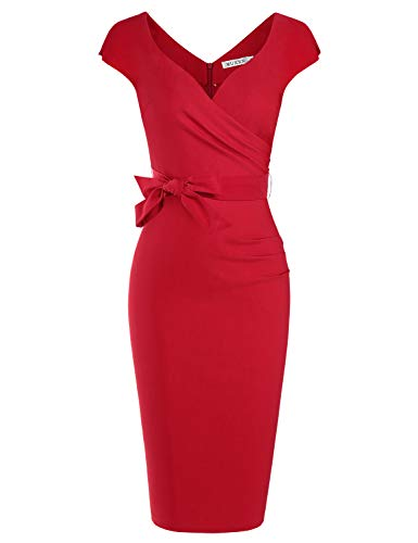 MUXXN Women Petite Cute Sweetheart Neckline Knee Length Bridesmaid Dress (Red L)