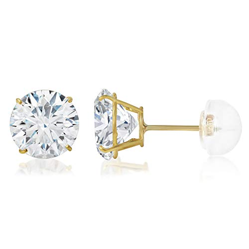Ioka - 14K Yellow OR White Gold Round Solitaire Cubic Zirconia CZ Stud Push Back Earrings in Various Sizes