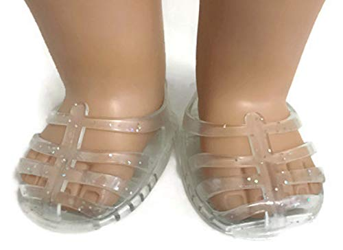 American Jelly - Doll Shoes Fit American Girl Doll and Other 18 Inch Dolls Clear Glitter Jelly Sandals