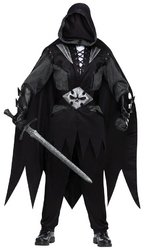 Medieval Tunic Costumes (FunWorld Evil Knight Complete, Black/Grey, One Size Costume)