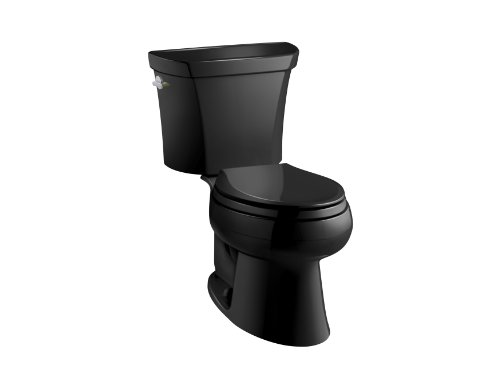 KOHLER K-3988-7 Wellworth Two-Piece Elongated Dual-Flush Toilet with Class Five Flush System and Left-Hand Trip Lever, Black ()