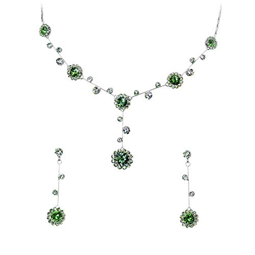 Necklace Earrings Floral Crystal (Faship Gorgeous Green Rhinestone Crystal Floral Necklace Earrings Set)