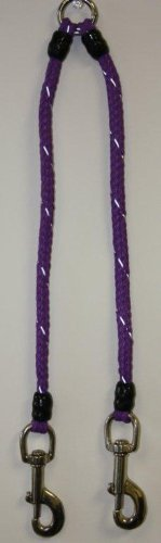 Security Coupler, designed to handle two larger dogs on one leash - 30 inches overall length, 1 inch hardware - Purple
