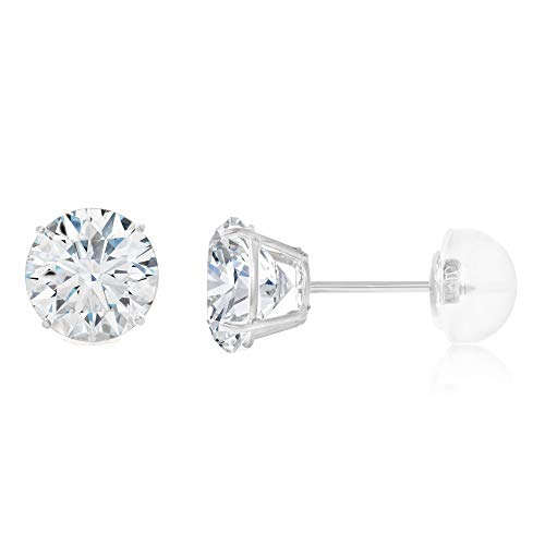 Ioka - 14K White Gold Round Solitaire Cubic Zirconia CZ Stud Push Back Earrings - 0.75ct (6mm)