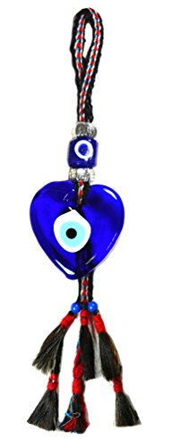 Heart Shape Glass Evil Eye Wall Decor-with Handwoven Wool Strap. by Nazar Turkish Imports