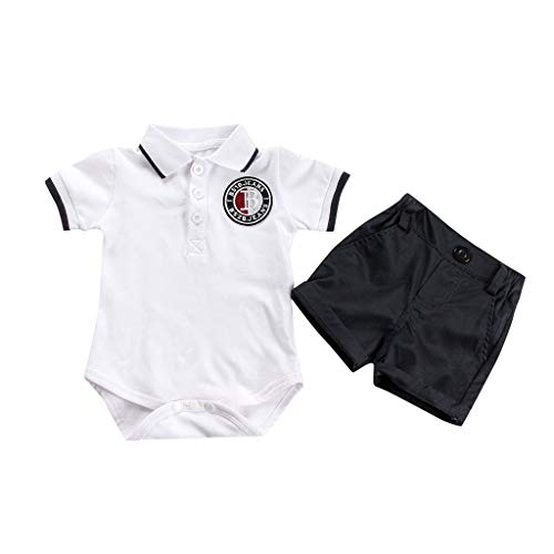 Baby Boys Gentleman Outfits Suits Bodysuit, Infant Short Sve Romper Shirt+Shorts Pants Outfit Set 6M-24M White