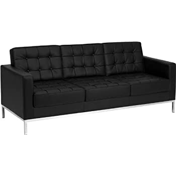 Attrayant Flash Furniture HERCULES Lacey Series Contemporary Black Leather Sofa With  Stainless Steel Frame