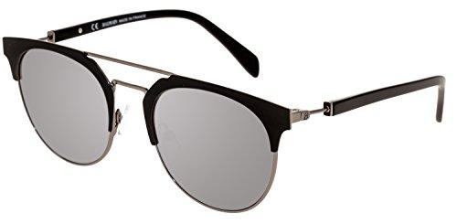 BALMAIN BL 2109 Matte Black Silver Flash Mirror Clubmaster Metal Sunglasses - Mens Sunglasses Balmain