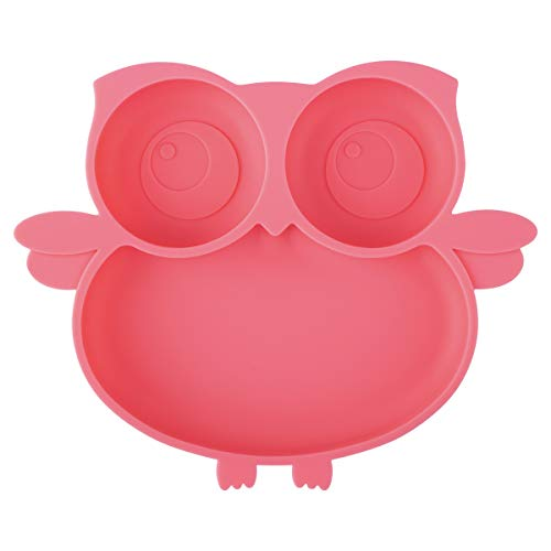 Kirecoo Owl Suction Silicone Plate for Toddlers – Self Feeding Training Storage Divided Bowl and Dishes for Baby and Kids, Fits for Most Hairchairs Trays, BPA Free Microwave Dishwasher Safe (Pink)