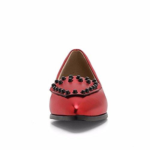 grandes zapatos calzado puntiagudos bajo patios talón solo gules casual femenino el Remaches HqUwRnEp1