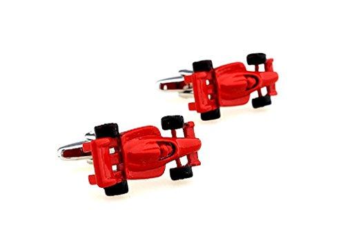 MRCUFF Race Car Indy F1 Red Formula One Pair Cufflinks in a Presentation Gift Box & Polishing - 500 Day Race Indy
