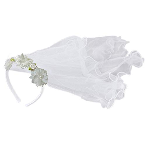 Apregies Baby Girls Flower Headband with 2-Tier Veil Headwear White