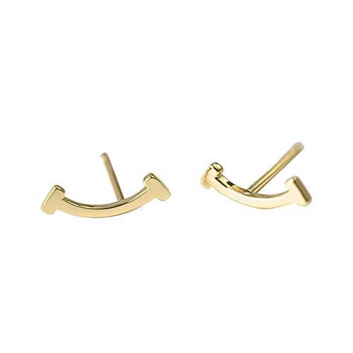 Fashion T Smile Stud Earrings Authentic Sterling Silver Double Letter Alphabet Initial Jewelry for Women & Girls (Yellow Gold)