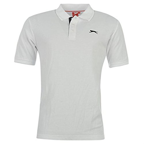 Slazenger Plain Polo Shirt Mens Weiß L
