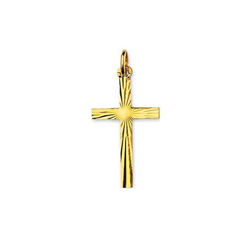 Tousmesbijoux Pendentif croix avec détails martelés en Or jaune 375/00