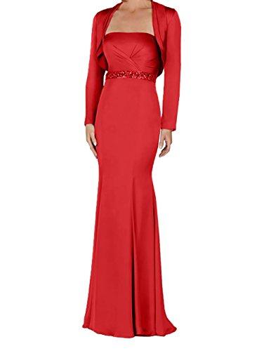 Langarm Meerjungfrau La Brautmutterkleider Ballkleider Satin Braut mit mia Jaket Trumpet Lang Abendkleider Rot gwRZPgq