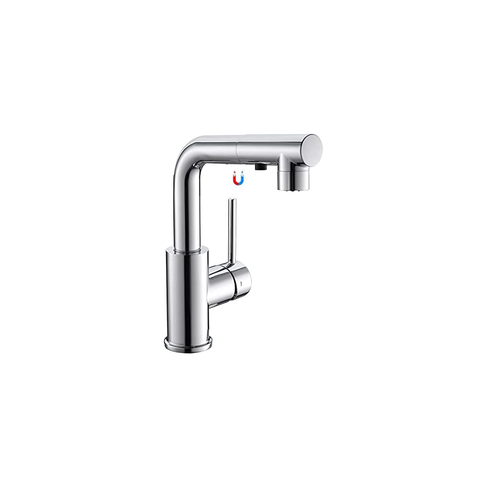 CREA Sink Faucet, Kitchen Faucets with Pull Out Sprayer, Bar Bathroom Sink Faucets Single Hole 3 Hole Mini Prep Faucet…