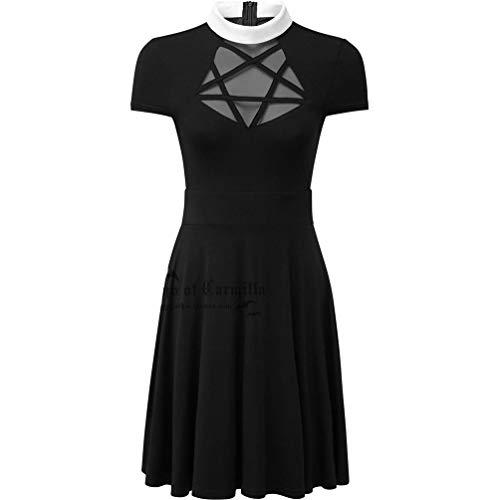 Gothic Halloween Dress Short Mesh Black Women Casual for Pentagram Romantic Dress Vintage Womens Sleeve Enfei wXIqdTT