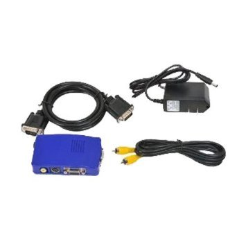 VideoSecu TV Video RCA to PC VGA Converter Adapter Switch Box with Free Power Supply AV2VGA A15