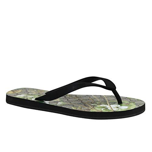 Gucci Bloom Print Black/Green Canvas/Rubber Flower Thong Sandal 283029 1083 (8 G / 9 US)